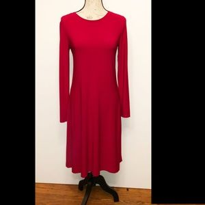 Red long sleeve dress with flare bottom S